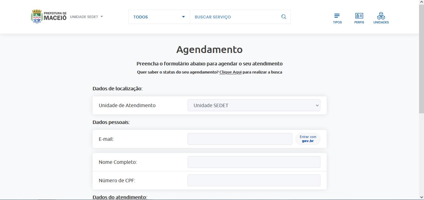 Sistema de agendamento da Prefeitura de Maceió. Foto: Reprodução